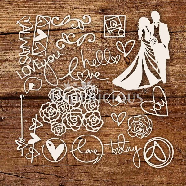 The Wedding - 6x12 Inch Laser Cut Theme Chipboard (1.4mm)
