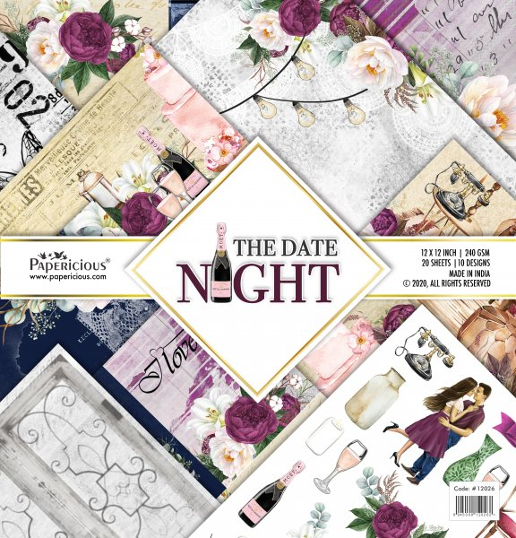 PAPERICIOUS - The Date Night -  Designer Pattern Printed Scrapbook Papers 12x12 inch  / 20 sheets