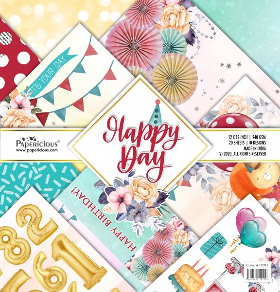 PAPERICIOUS - Happy Day -  Designer Pattern Printed Scrapbook Papers 12x12 inch  / 20 sheets