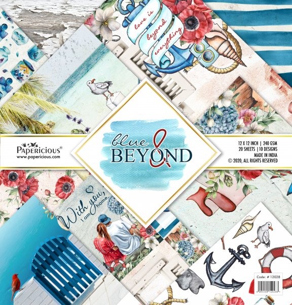 PAPERICIOUS - Blue & Beyond -  Designer Pattern Printed Scrapbook Papers 12x12 inch  / 20 sheets