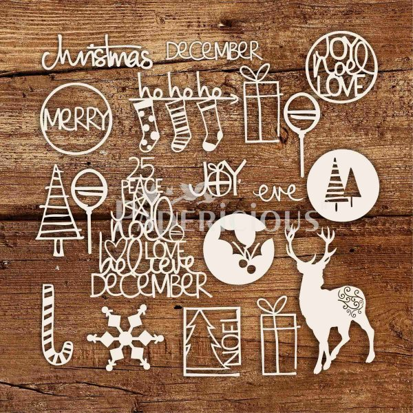 Cristmas / Xmas - 6x12 Inch Laser Cut Theme Chipboard (1.4mm)