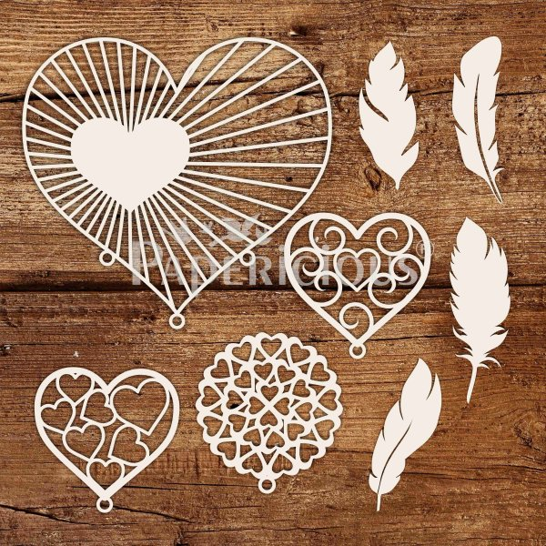 Heart Dream Catcher - 6x6 Inch Laser Cut Collage Chipboard (1.4mm)