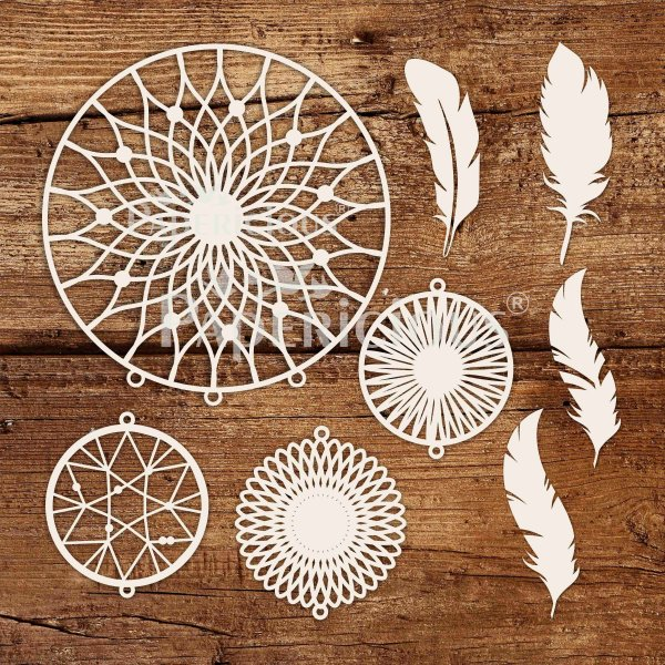 Round Dream catcher - 6x6 Inch Laser Cut Collage Chipboard (1.4mm)