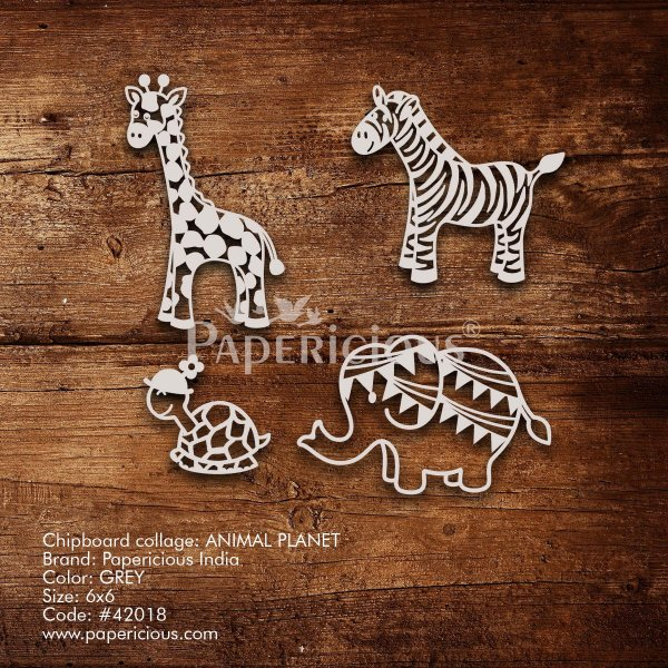 Animal Planet - 6x6 Inch Laser Cut Collage Chipboard (1.4mm)