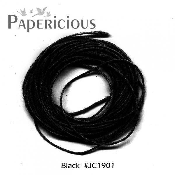 PAPERICIOUS - Black Jute Cord - 1.2mm thick of 5 yards