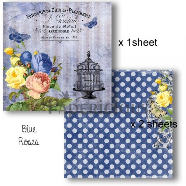 Papericious - Decoupage Papers - Blue Roses