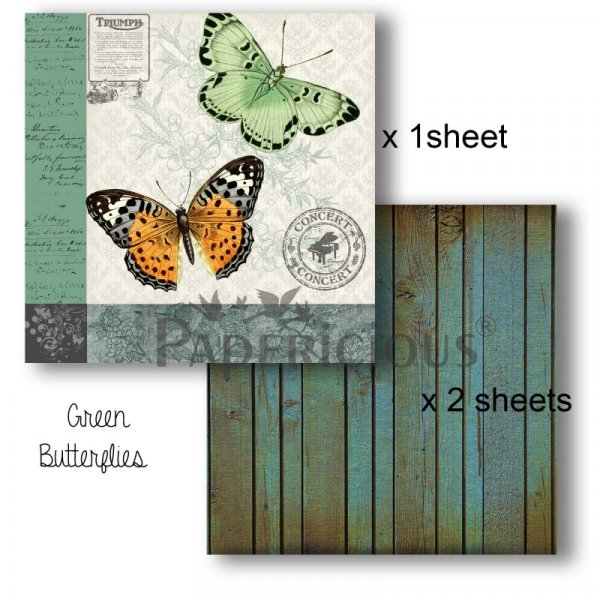 Papericious - Decoupage Papers - Green Butterfly