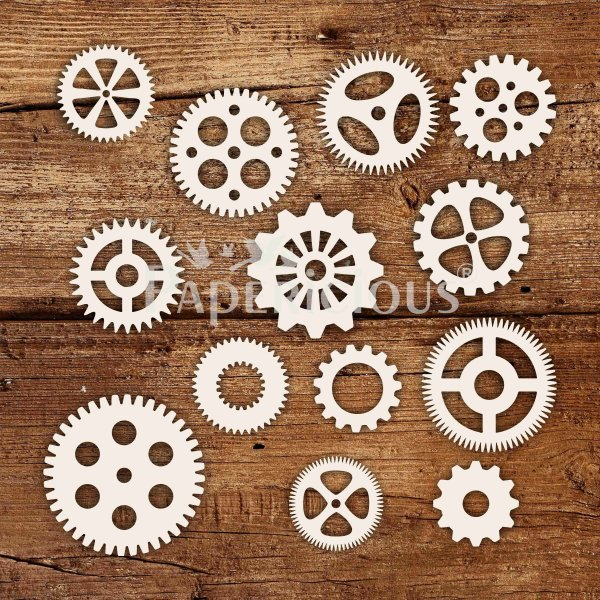 Gears - 6x6 Inch Laser Cut Collage Chipboard (1.4mm)