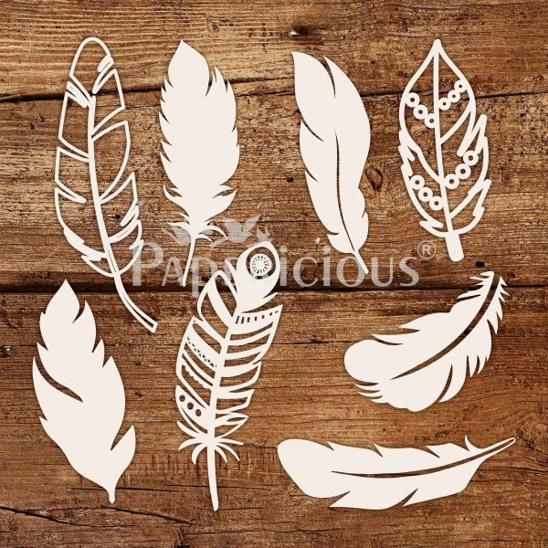 Feathers - 6x6 Inch Laser Cut Collage Chipboard (1.4mm) -