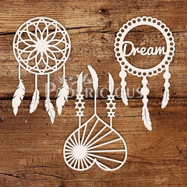 Small Dream Catcher - 6x6 Inch Laser Cut Collage Chipboard (1.4mm)
