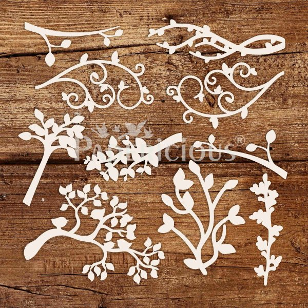 Leaf Florish - 6x6 Inch Laser Cut Collage Chipboard (1.4mm)