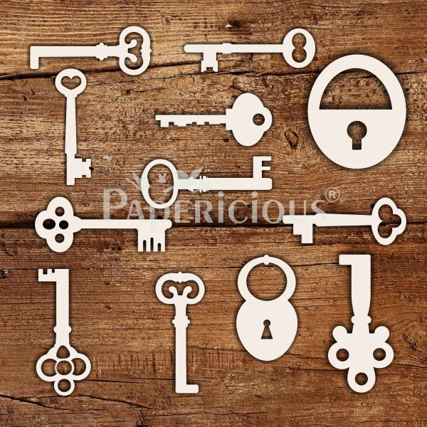 Keys - 6x6 Inch Laser Cut Collage Chipboard (1.4mm)