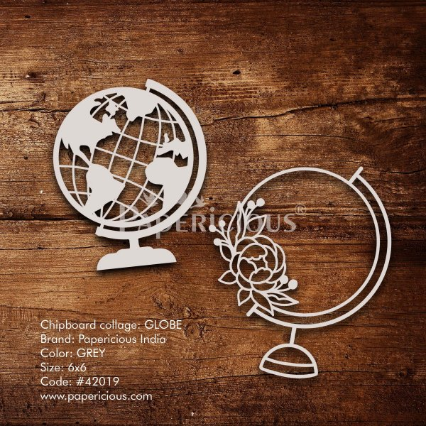 Globe - 6x6 Inch Laser Cut Collage Chipboard (1.4mm)