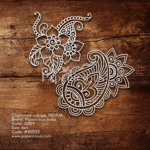 Heena - 6x6 Inch Laser Cut Collage Chipboard (1.4mm)