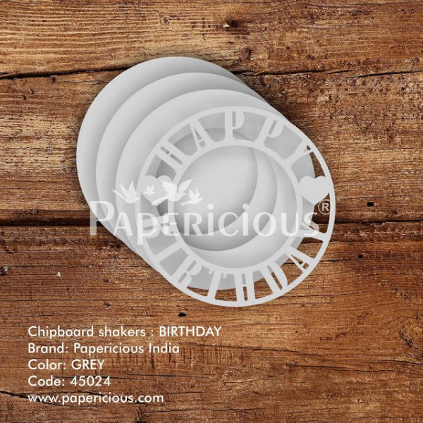 Laser Cut 3D Shaker Chipboard (1.4mm) - Birthday