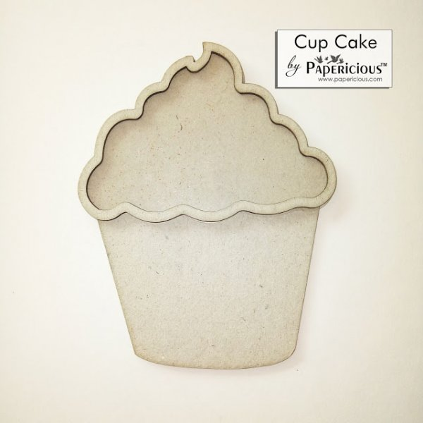 Laser Cut 3D Shaker Chipboard (1.4mm) - Cup cake