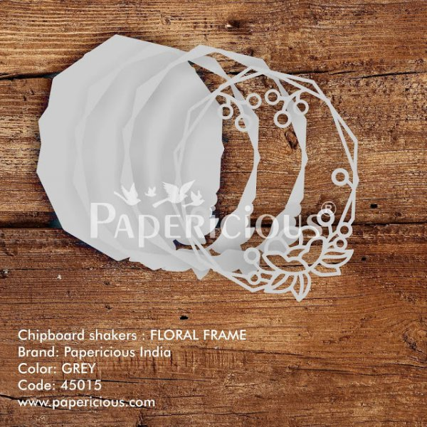 Laser Cut 3D Shaker Chipboard (1.4mm) - Floral Frame