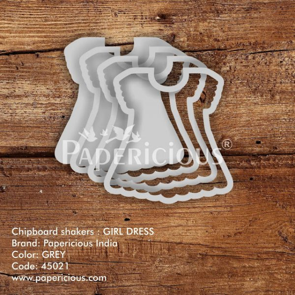 Laser Cut 3D Shaker Chipboard (1.4mm) - Girl Dress