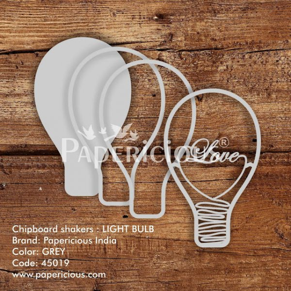 Laser Cut 3D Shaker Chipboard (1.4mm) - Light Bulb