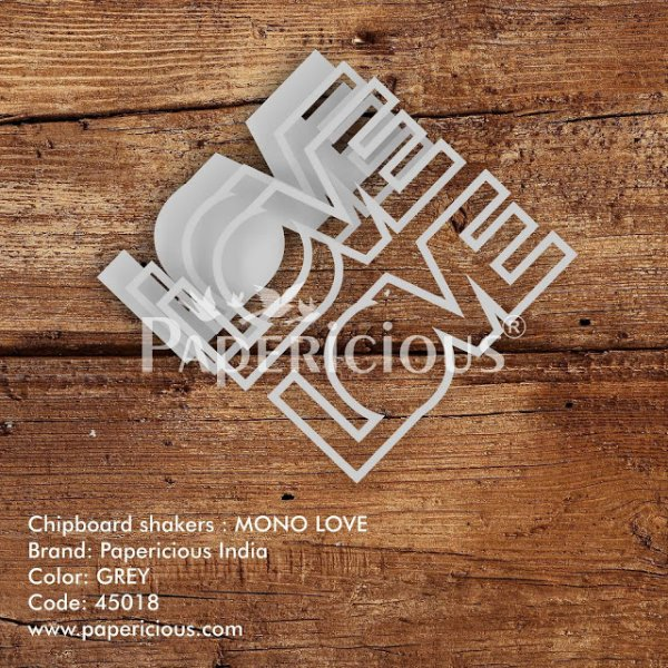 Laser Cut 3D Shaker Chipboard (1.4mm) - Mono Love
