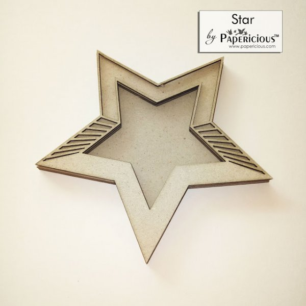 Laser Cut 3D Shaker Chipboard (1.4mm) - Star