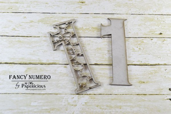 Number 1 (One) -  Laser Cut AlphaNumerals Chipboard (1.4mm)