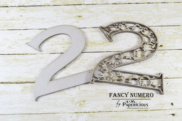 Number 2 (Two) -  Laser Cut AlphaNumerals Chipboard (1.4mm)