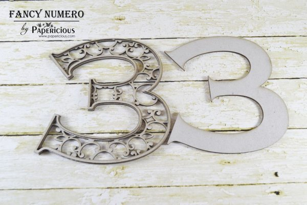 Number 3 (Three) -  Laser Cut AlphaNumerals Chipboard (1.4mm)