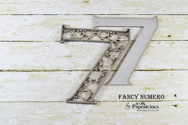 Number 7 (Seven) -  Laser Cut AlphaNumerals Chipboard (1.4mm)