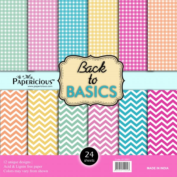 PAPERICIOUS - Back to Basic -  Designer Pattern Printed Scrapbook Paper / 24 sheets