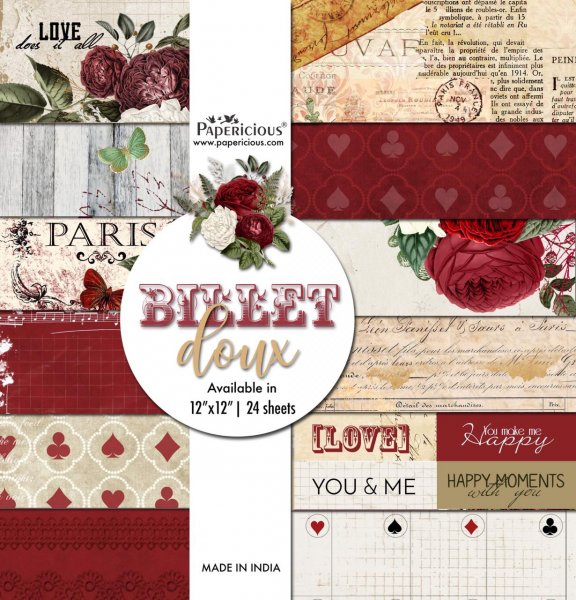 PAPERICIOUS - Billet Doux - Designer Pattern Printed Scrapbook Papers 12x12 inch  / 24 sheets