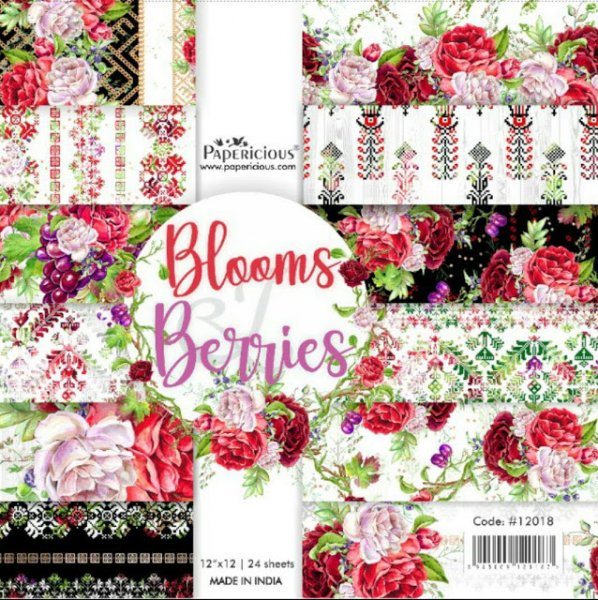 PAPERICIOUS - Bloom & Beeries - Designer Pattern Printed Scrapbook Papers 12x12 inch  / 24 sheets