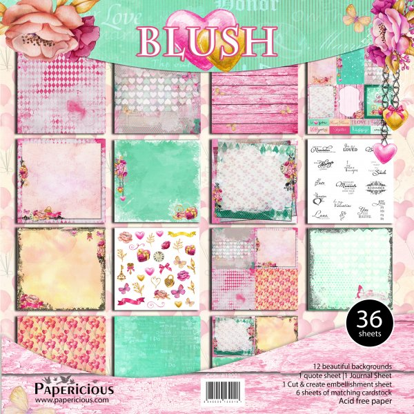 PAPERICIOUS - Blush - Designer Pattern Printed Scrapbook Papers 12x12 inch / 36 sheets