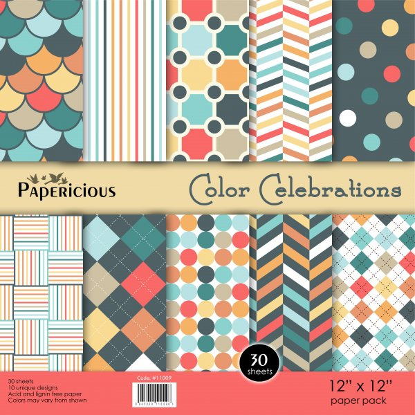 PAPERICIOUS - Color Celebration -  Designer Pattern Printed Scrapbook Papers  / 30 Sheets