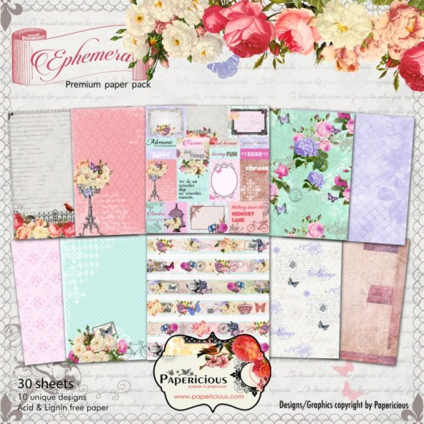 PAPERICIOUS - Ephemera -  Designer Pattern Scrapbook Papers 12x12 inch / 30 sheets