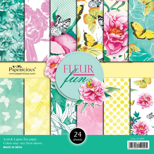 PAPERICIOUS - Fluer Fun -  Designer Pattern Printed Scrapbook Papers / 24 sheets