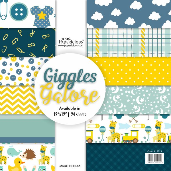 PAPERICIOUS - Giggles Gallore- Designer Pattern Printed Scrapbook Papers / 24 sheets