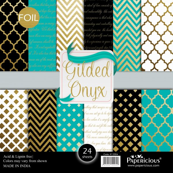 PAPERICIOUS - Gilded Onyx - Golden Foiled Designer Pattern Printed Scrapbook Papers 12x12 inch / 24 sheets