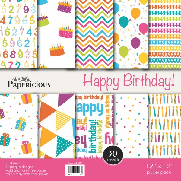 PAPERICIOUS - Happy Birthday -  Designer Pattern Printed Scrapbook Papers / 30 sheets