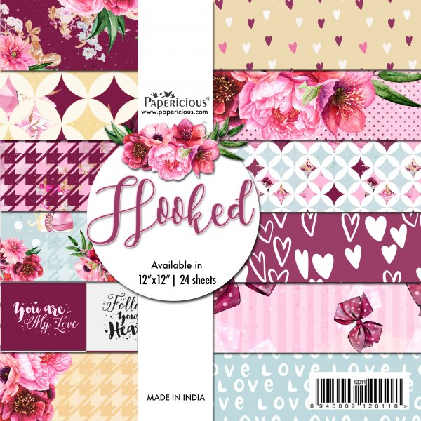 PAPERICIOUS - Hooked -  Designer Pattern Printed Scrapbook Papers / 24 sheets