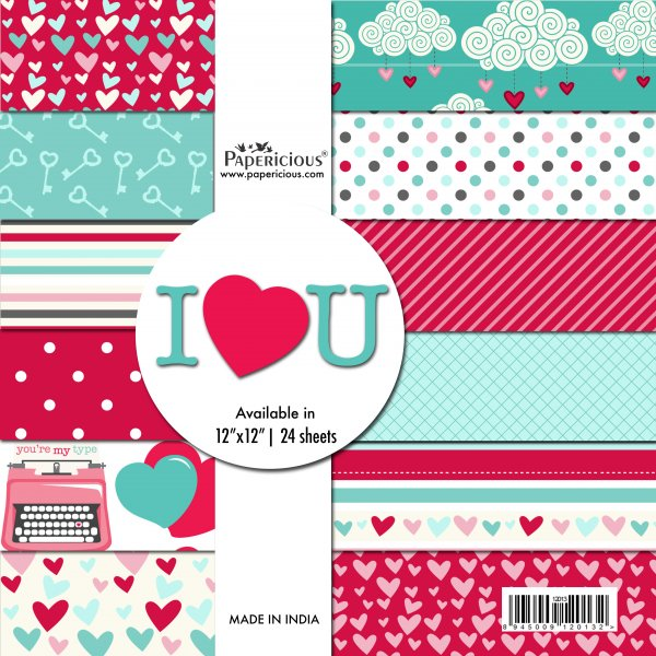 PAPERICIOUS - I Love You -  Designer Pattern Printed Scrapbook Papers / 24 sheets