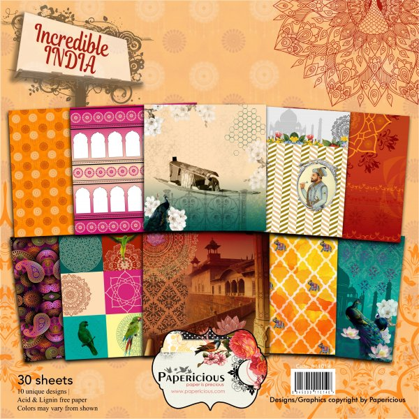 PAPERICIOUS - Incredible India -  Designer Pattern Printed Scrapbook Papers / 30 sheets