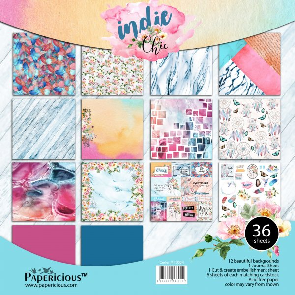 PAPERICIOUS - Indie Chic - Designer Pattern Printed Scrapbook Papers 12x12 inch / 36 sheets