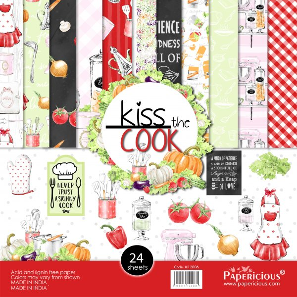 PAPERICIOUS - Kiss the Cook -  Designer Pattern Printed Scrapbook Papers / 24 sheets
