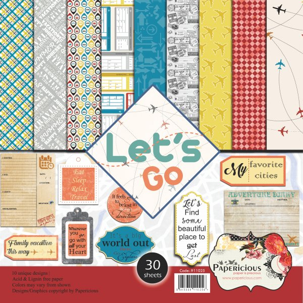 PAPERICIOUS - Lets Go -  Designer Pattern Printed Scrapbook Papers 12x12 inch / 30 sheets