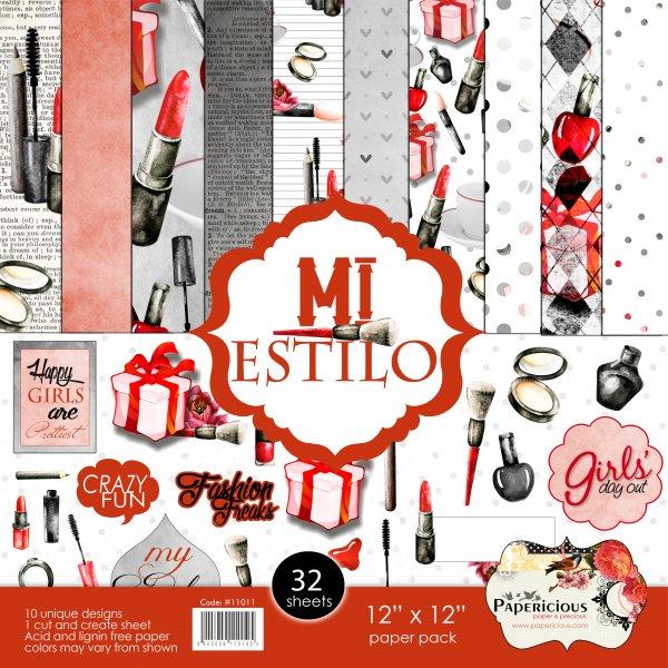 PAPERICIOUS - MI Estilo -  Designer Pattern Printed Scrapbook Papers/ 30 sheets