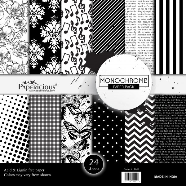 PAPERICIOUS - Monochrome - Designer Pattern Printed Scrapbook Papers / 24 Sheets