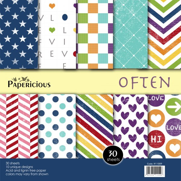 PAPERICIOUS - Often - Designer Pattern Printed Scrapbook Papers  / 30 sheets