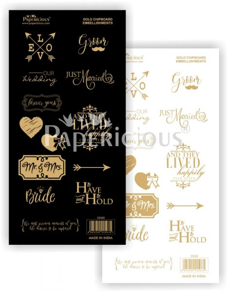 Papericious - Our Wedding - Die-Cut Embellishment- Motif Sheet