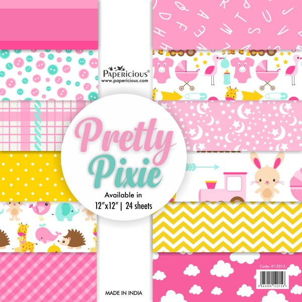 PAPERICIOUS - Pretty Pixie -  Designer Pattern Printed Scrapbook Papers / 24 sheets